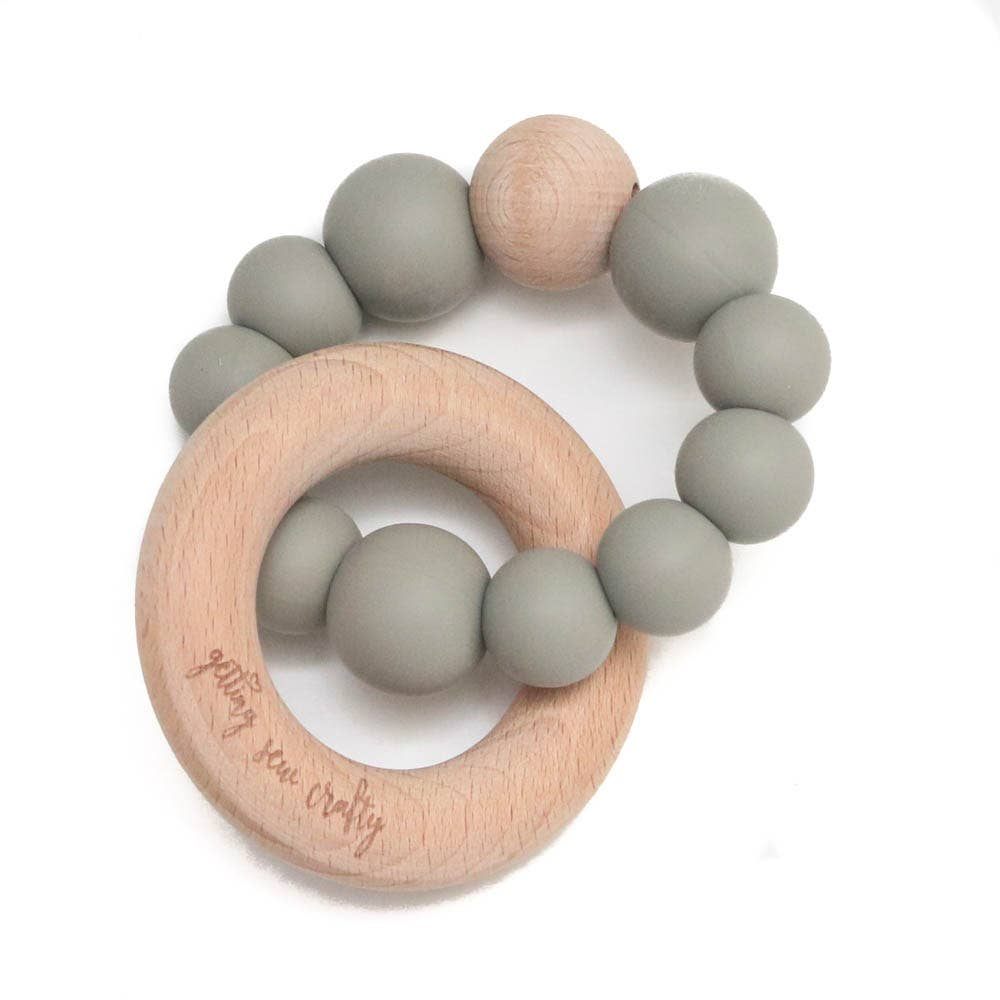 Getting Sew Crafty - Teether - Silicone + Wood - Gray