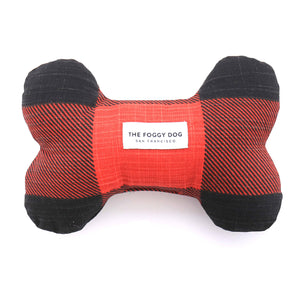 The Foggy Dog - Red and Black Check Dog Bone Squeaky Toy