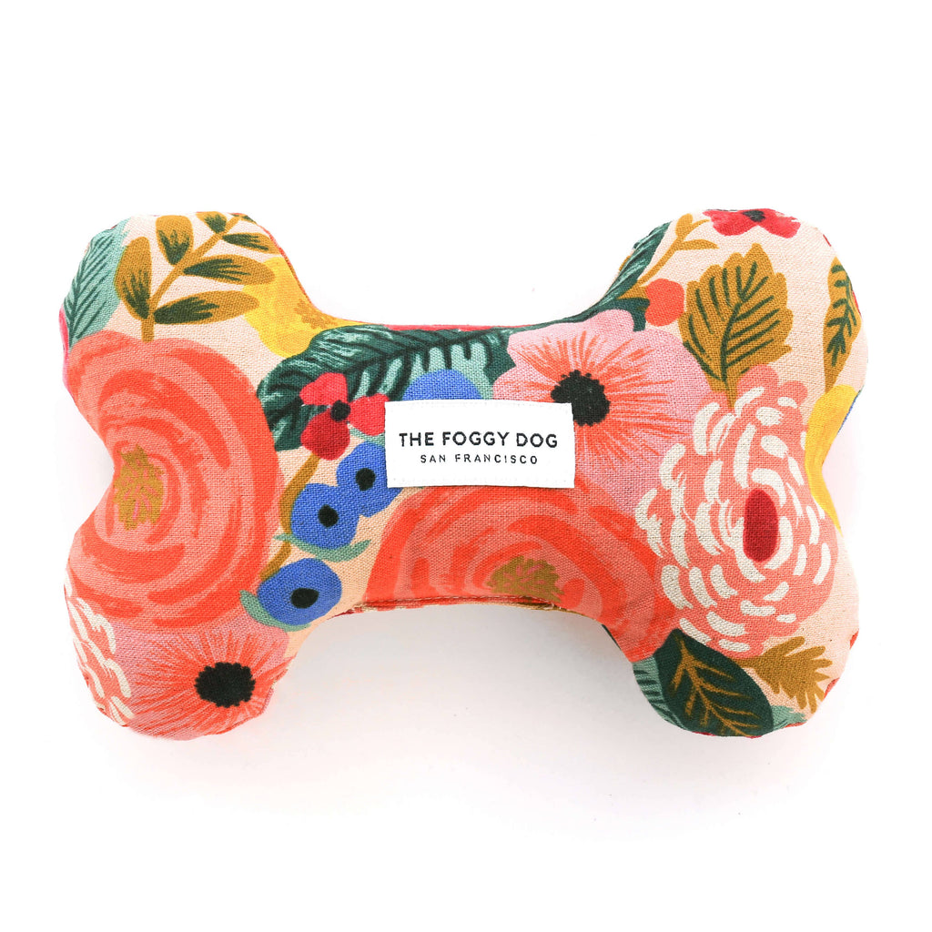 The Foggy Dog - Painted Peonies Natural Dog Bone Squeaky Toy
