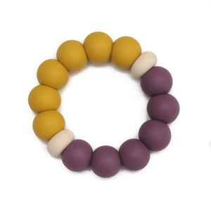 Silicone Teether - Mustard + Mauve