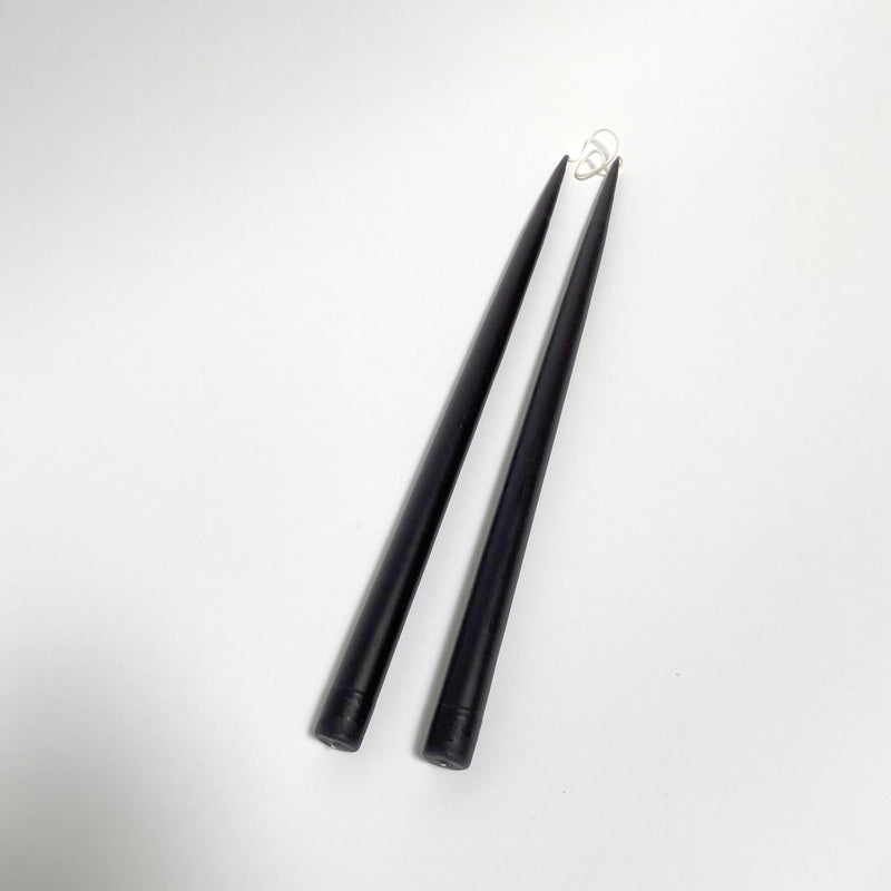 "17"" Hand-Dipped Taper Candle Pair - Black"
