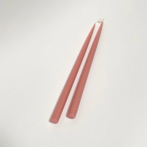 "17"" Hand-Dipped Taper Candle Pair - Tea Rose"
