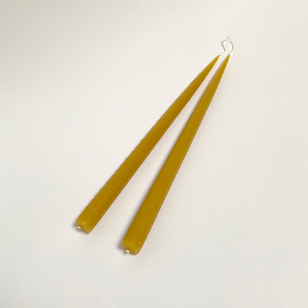 Hand-Dipped Taper Candle Pair - Honey