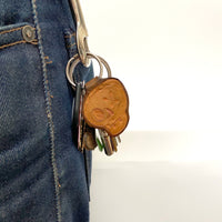 Hand-tooled Leather Skull Keychain
