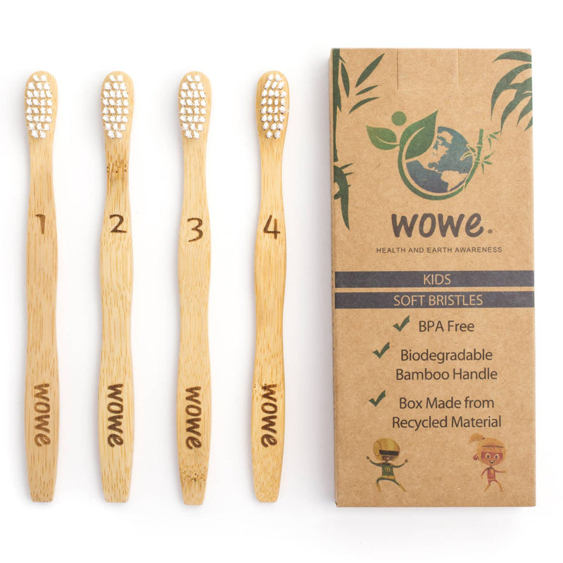 Wowe - Kids Bamboo Toothbrush - Pack of 4