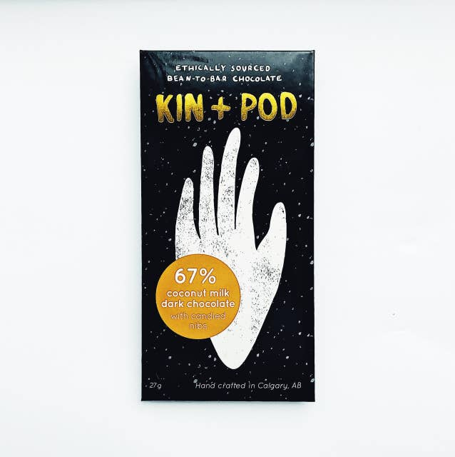 Kin+Pod Chocolate Incorporated - 67% Coconut Milk Dark Chocolate with Candied Nibs