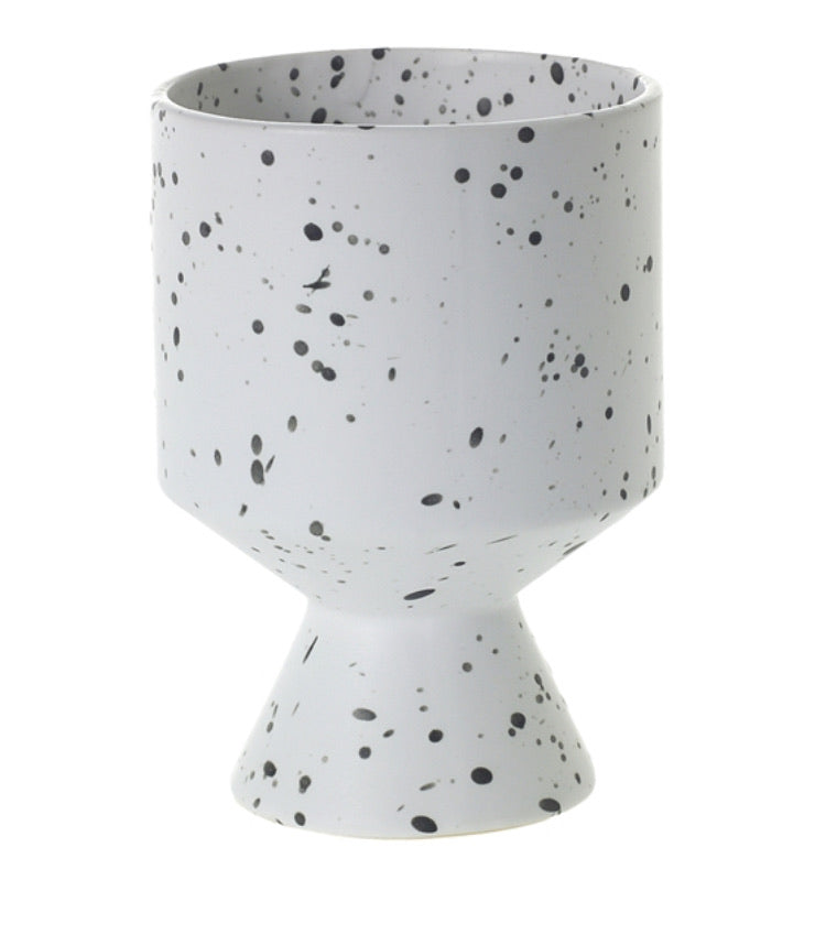 Pedestal Planter - White & Black Speckled