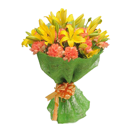 Bunch of Yellow Asiatic lilies & Orange carnations