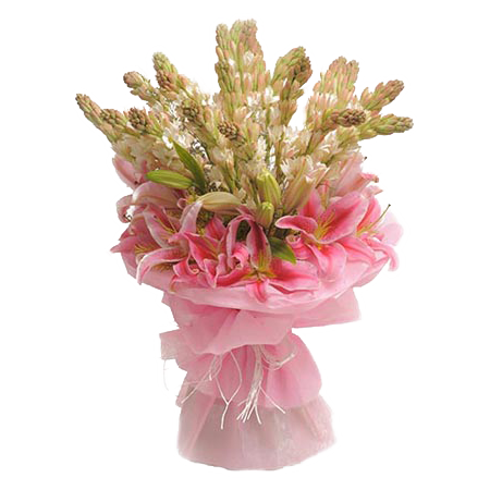 Mix Flowers Bunch of Tube Roses & Oriental Lilies