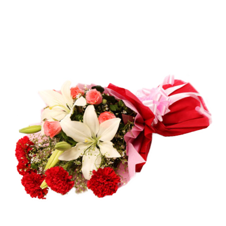 Mix Flowers Bunch of Asiatic, Carnations & Roses