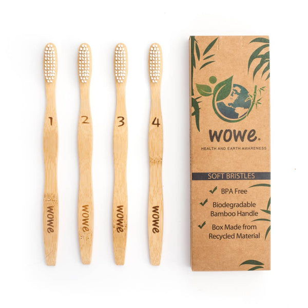 Adult Bamboo Toothbrush / Pack of 4