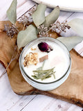Fertility candle / crystal candle / abundance candle / butter me up organics / intention candle