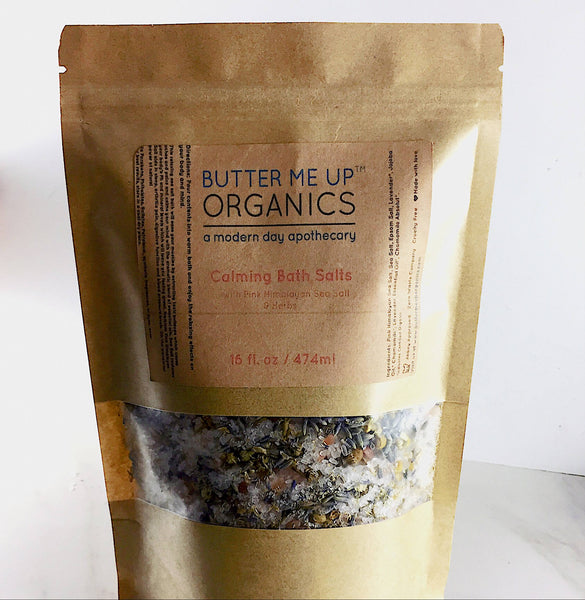 Calming Bath Salts / Detox / Relaxation / Lavender & Chamomile / Essential Oils / Organic Herbs / Herbal Bath Salts for Relaxation Stress