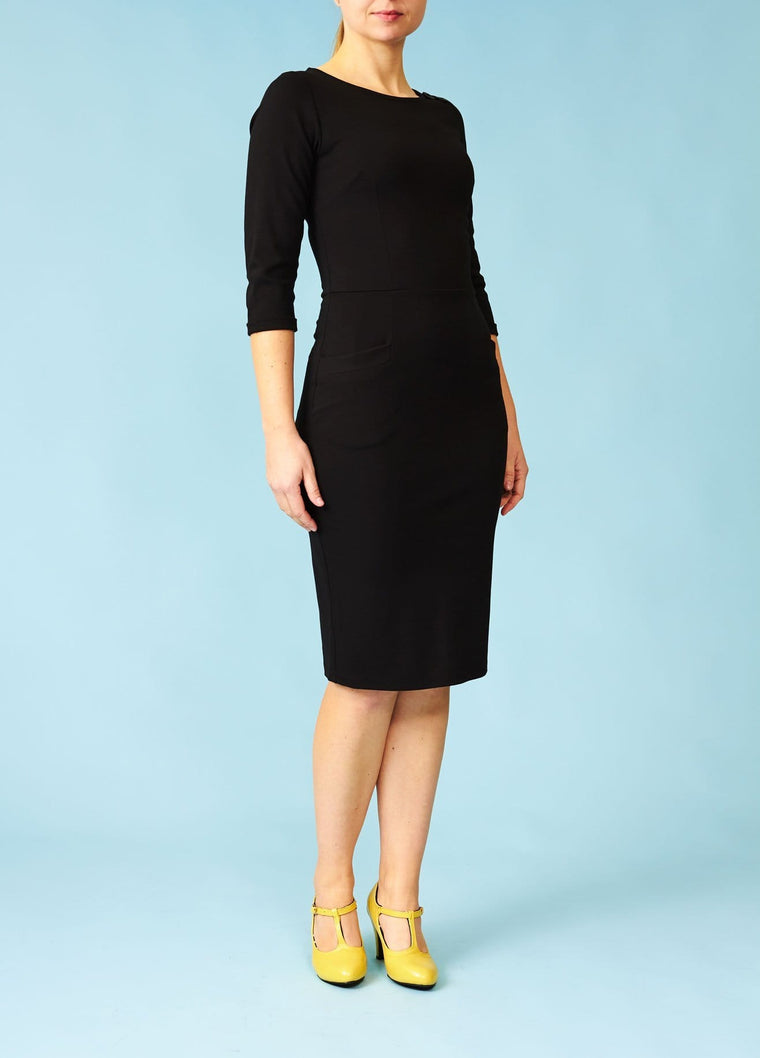 Very Cherry: Fairtrade wiggle-dress med trekvartærmer - sort