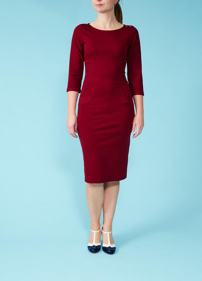 Very Cherry: Wiggle-dress med trekvartærmer - bordeaux