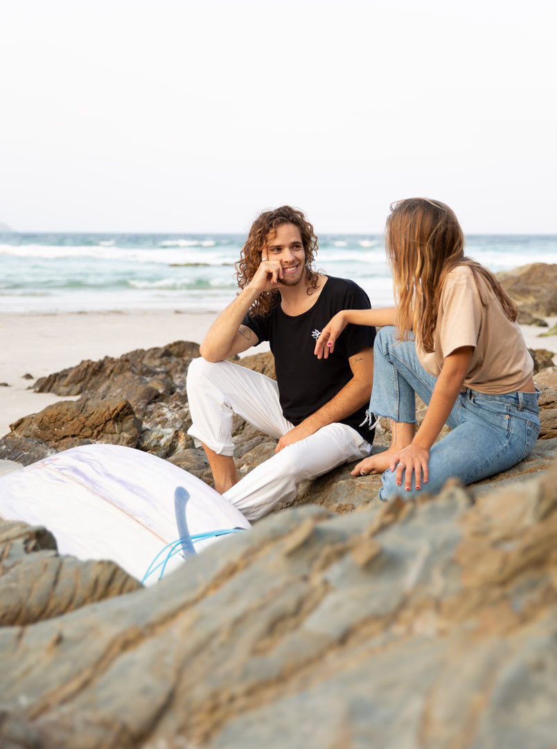 Marco and Isa in Byron Bay - Organic T-shirts
