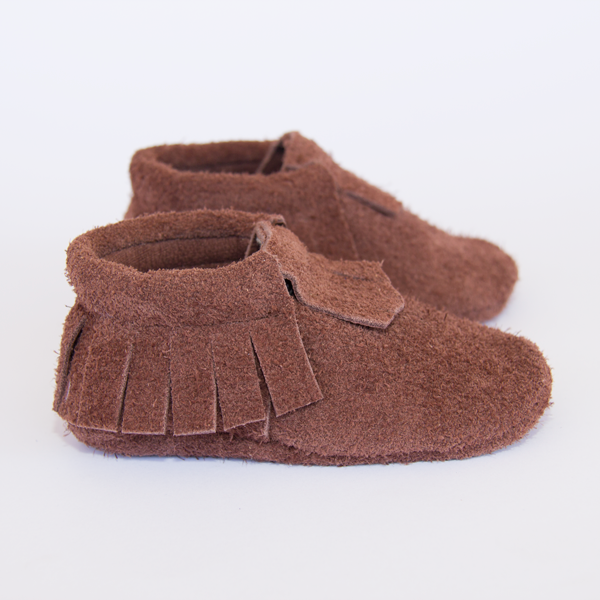 Brown Fluffy Suede Moccasins
