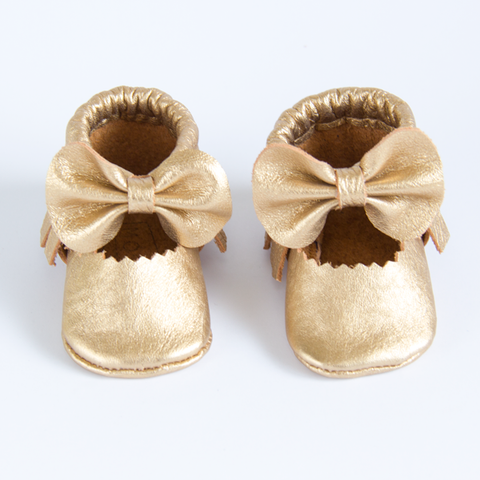 Gold Leather Bow Moccasins