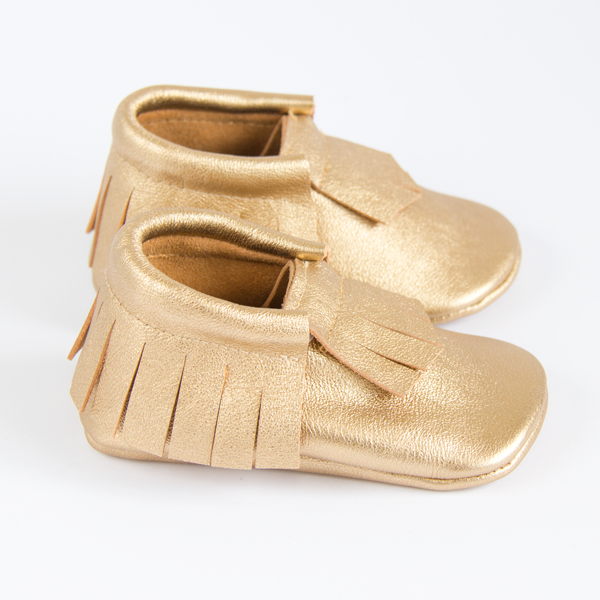 Gold Leather Moccasins