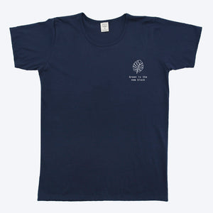 Mens Organic T-shirt Monstera Print Navy