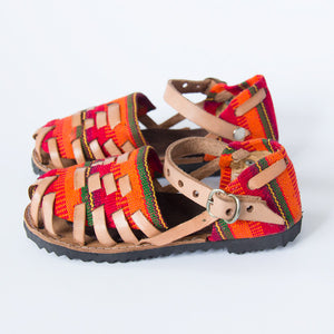 Orange Closed Toe Leather Sandals