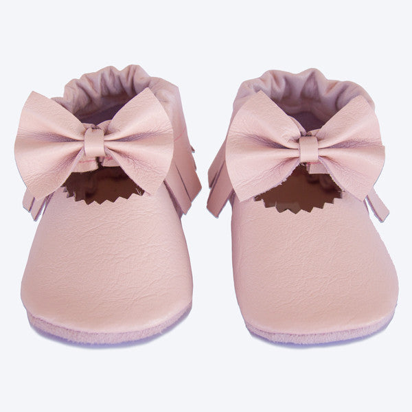Pale Pink Bow Leather Moccasins
