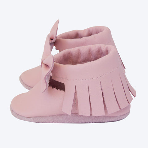 Pink Leather Bow Moccasins