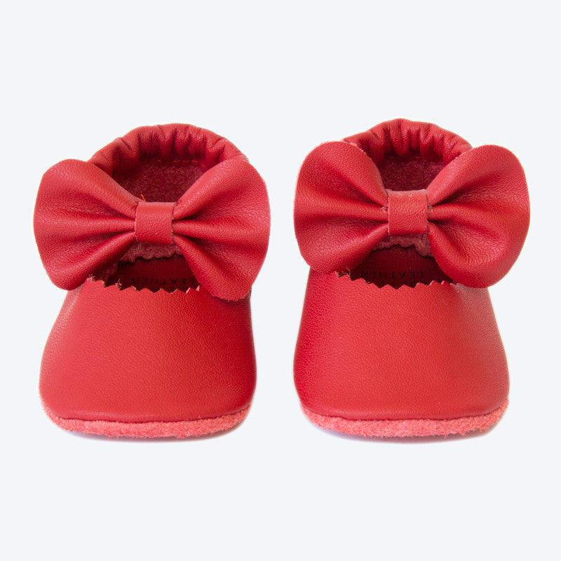 Red Bow Leather Mary Janes