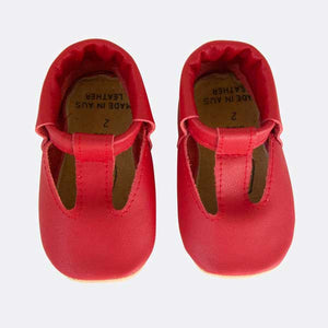 Red Leather T-strap shoes
