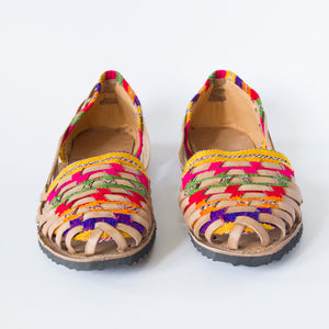 Ladies Rainbow Leather and Fabric Sandals - 38