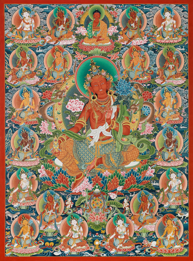 Twenty One Taras Buddhist Thangka painting by Mukti Singh Thapa at Mahakala Fine Arts