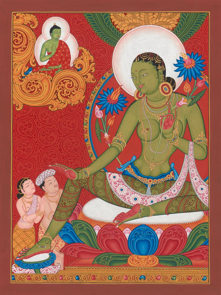 Green Tara Buddhist thangka painting by Mukti Singh Thapa at Mahakala Fine Arts
