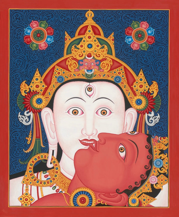 Heads II Tibet Thangka Nepal Paubha Painting by Mukti Singh Thapa at Mahakala Fine Arts