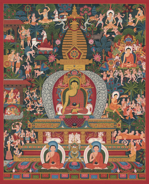 Life of Buddha Buddhist Thangka Paubha Painting by Mukti Singh Thapa