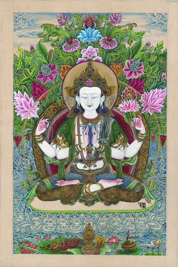 Avalokitesvara Guanyin thangka paubha painting by Lok Chitrakar at Mahakala Fine Arts