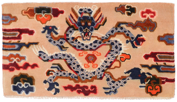 Handmade Tibetan Dragon Cushion Rug Carpet at Mahakala Fine Arts