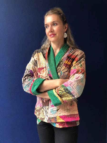 Women's Kantha Jacket with belt handmade boho coat