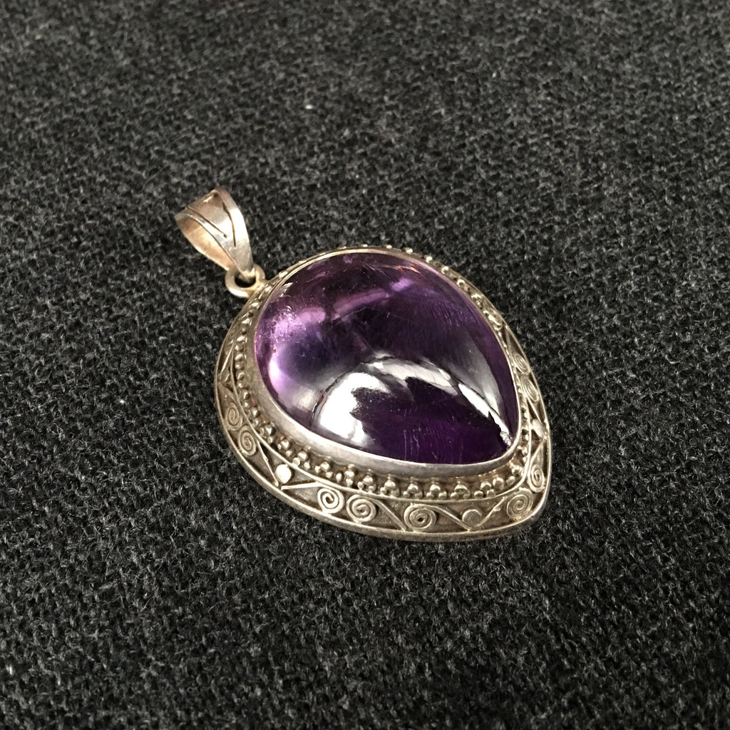 Himalayan Amethyst and Silver Pendant at Mahakala Fine Arts