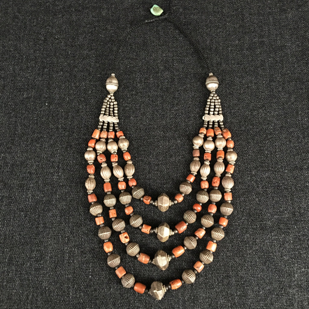 Handmade Himalayan Coral and Silver Necklace Jewelry at Mahakala Fine Arts