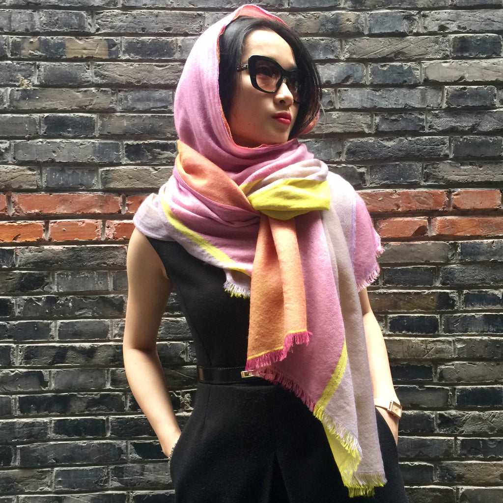 Handmade quadra cashmere scarf from Himalaya at Mahakala Fine Arts
