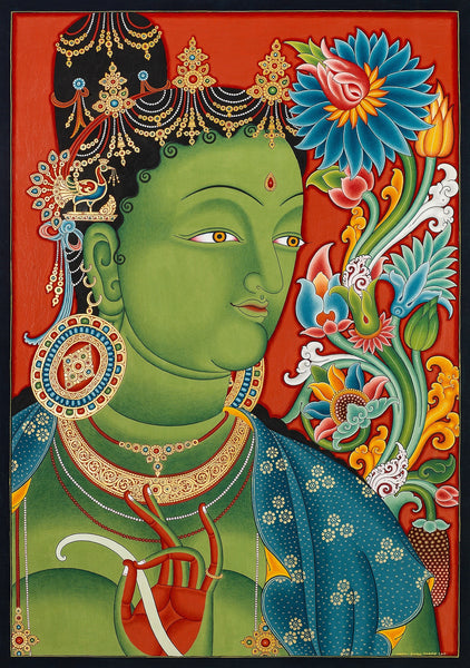 Green Tara Head Buddhist thangka painting by Mukti Singh Thapa at Mahakala Fine Arts