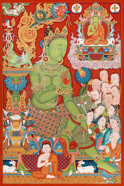 Green Tara Buddhist thangka paubha painting by Mukti Singh Thapa at Mahakala Fine Arts