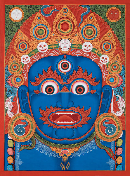 Mahakala Head Buddhist thangka painting by Mukti Singh Thapa at Mahakala Fine Arts