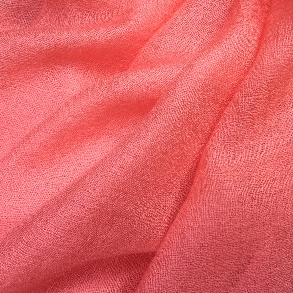 Handmade peach cashmere scarf from Himalaya at Mahakala Fine Arts