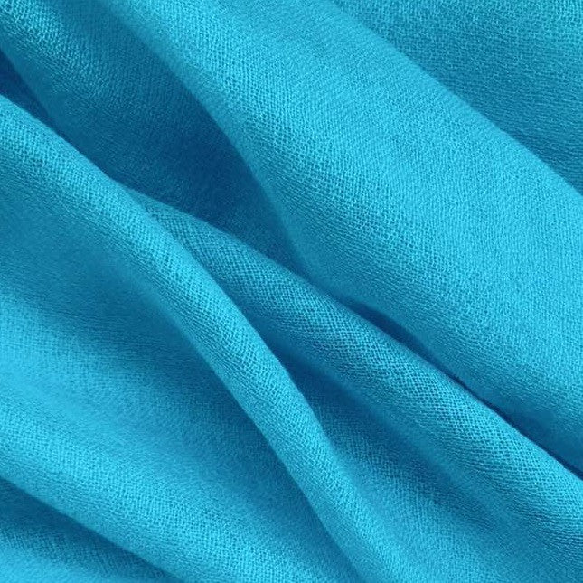 Handmade teal luxury cashmere scarf from Himalaya at Mahakala Fine Arts