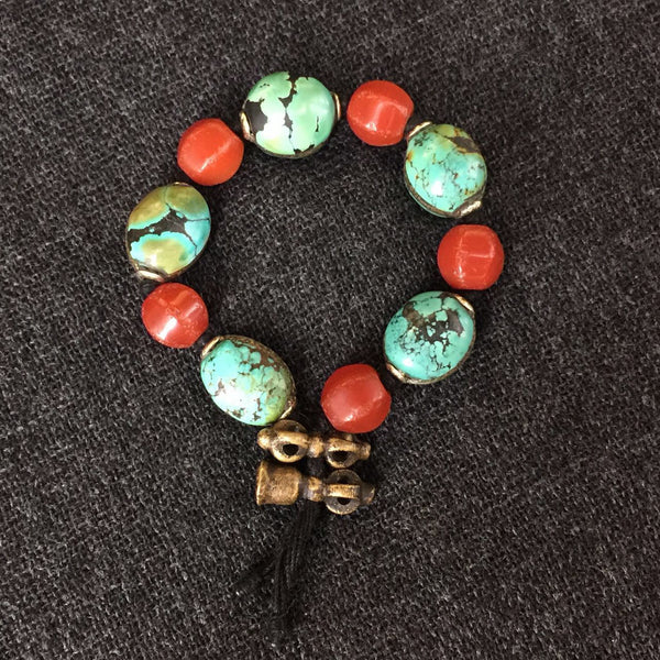 Himalayan Turquoise and Agate Prayer Bead Wrist Mala Bracelet at Mahakala Fine Arts