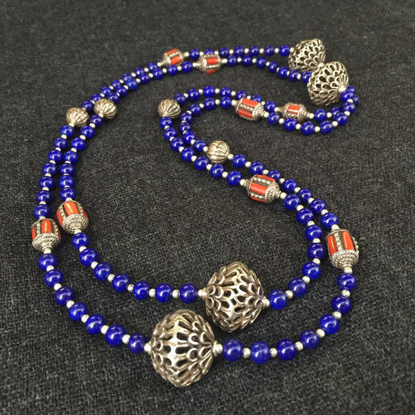 Handmade Himalayan Lapis Necklace with Antique Silver Beads Jewelry at Mahakala Fine Arts