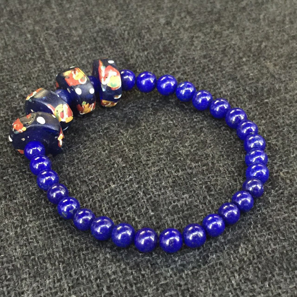 Antique 19th Century Handmade African Trade Bead and Lapis Bracelet Jewelry at Mahakala Fine Arts