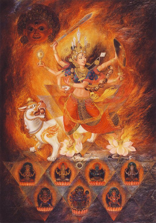 Shakti Paubha Thangka by Udaya Charan Shrestha at Mahakala Fine Arts