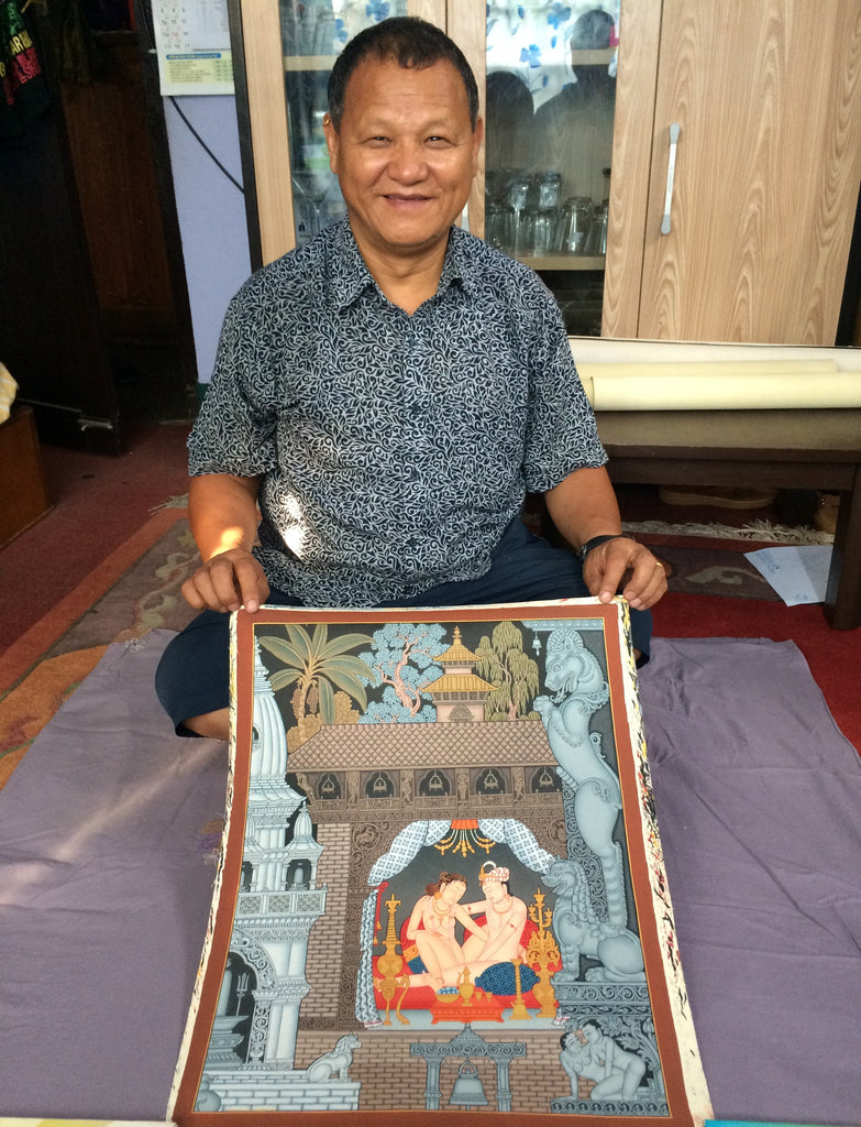 Creation Kama Sutra thangka painting by Mukti Singh Thapa at Mahakala Fine Arts
